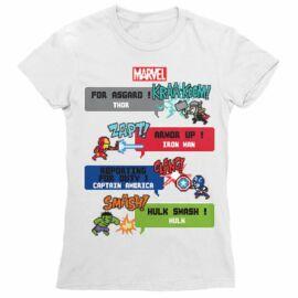 Fehér Bosszúállók női rövid ujjú póló - Marvel Heroes 8bit
