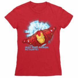Piros Bosszúállók Vasember női rövid ujjú póló - Armor Activate