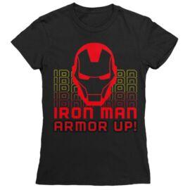 Fekete Bosszúállók Vasember női rövid ujjú póló - Armor Up