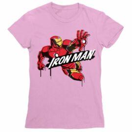 Világos rózsaszín Bosszúállók - Avengers női rövid ujjú póló - Vasember Comics Paint