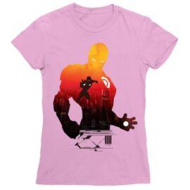 Világos rózsaszín Bosszúállók - Avengers női rövid ujjú póló - Vasember sziluett