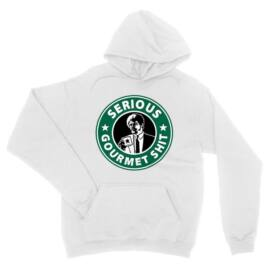 Fehér Ponyvaregény unisex kapucnis pulóver - Serious Gurmet Shit