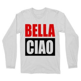 Fehér A nagy pénzrablás férfi hosszú ujjú póló - A nagy pénzrablás férfi hosszú ujjú póló - Bella Ciao