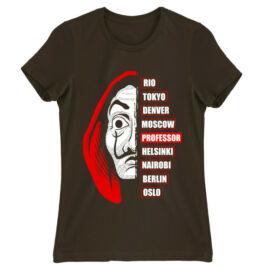 Barna A nagy pénzrablás női rövid ujjú póló - Money Heist Professor