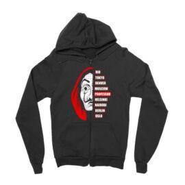Fekete A nagy pénzrablás zipzáros pulóver - Money Heist Professor