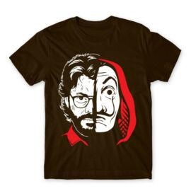 Barna A nagy pénzrablás férfi rövid ujjú póló - Professor Face