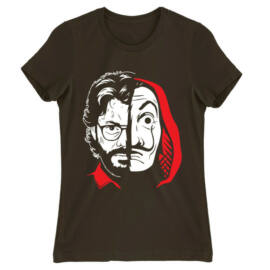 Barna A nagy pénzrablás női rövid ujjú póló - Professor Face