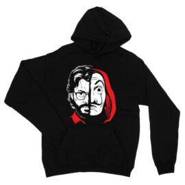 Fekete A nagy pénzrablás unisex kapucnis pulóver - Professzor Face