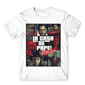 Fehér A nagy pénzrablás férfi rövid ujjú póló - La casa de papel GTA