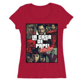 Piros A nagy pénzrablás női O-nyakú póló - La casa de papel GTA