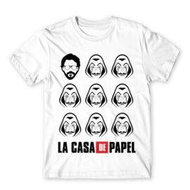 Fehér A nagy pénzrablás férfi rövid ujjú póló - La casa de papel faces