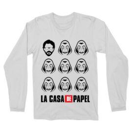 Fehér A nagy pénzrablás férfi hosszú ujjú póló - La casa de papel faces