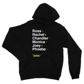 Fekete Jóbarátok kapucnis pulóver - Friends Reunion Names