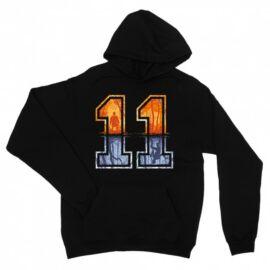 Fekete Stranger Things unisex kapucnis pulóver - Eleven Numbers