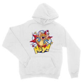 Fehér Tom és Jerry unisex kapucnis pulóver - Hey