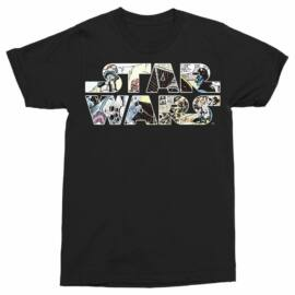 Star Wars férfi rövid ujjú póló - Comics logó - Fekete színben