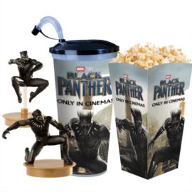 Fekete Párduc pohár és topper szett popcorn tasakkal