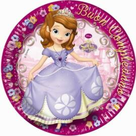 Disney Szófia hercegnő papírtányér, 23 cm 8 db-os szett - Boldog születésnapot