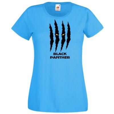 Fekete Párduc póló - Azúrkék