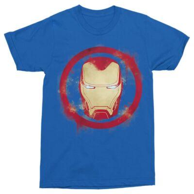 Királykék Marvel Vasember férfi rövid ujjú póló - Logó