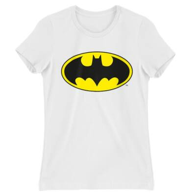 Fehér Batman női rövid ujjú póló Logó