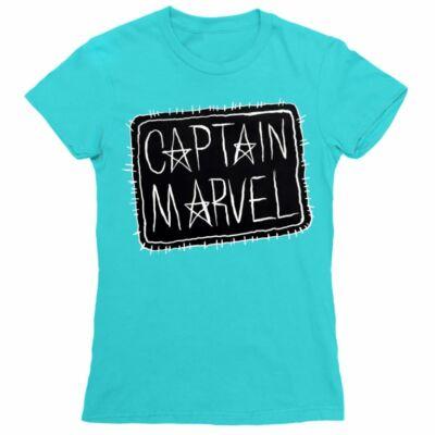 Atollkék Marvel Kapitány női rövid ujjú póló