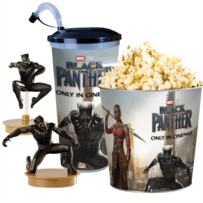 Fekete Párduc pohár, topper és popcorn vödör szett
