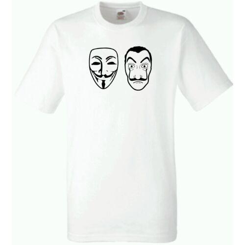 Fehér A nagy pénzrablás férfi rövid ujjú póló - Maszk