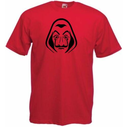 Piros A nagy pénzrablás férfi rövid ujjú póló - Salvador Dalí maszk