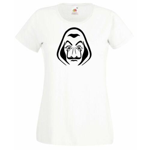Fehér A nagy pénzrablás női rövid ujjú póló - Salvador Dalí maszk