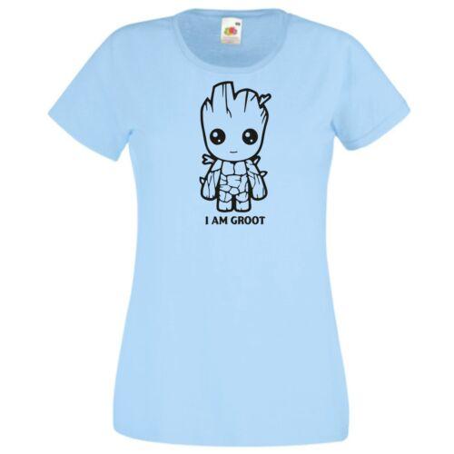 Világoskék I am Groot - Női rövid ujjú póló