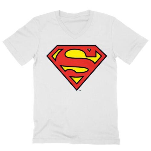 Fehér Superman - férfi V-nyakú póló - Classic Logó