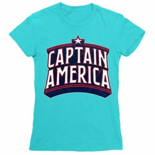 Atollkék Amerika Kapitány női rövid ujjú póló - Retro Logo