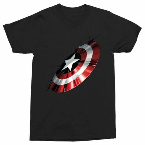 Fekete Amerika Kapitány férfi rövid ujjú póló - Shield Demage