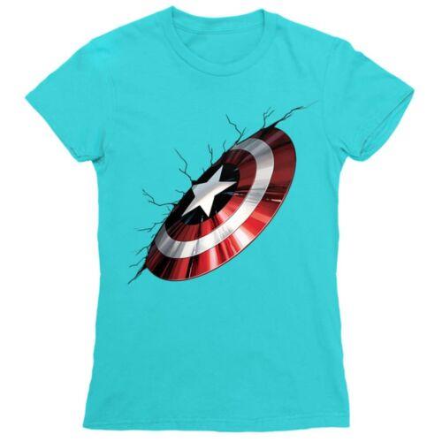 Atollkék Amerika Kapitány női rövid ujjú póló - Shield Demage