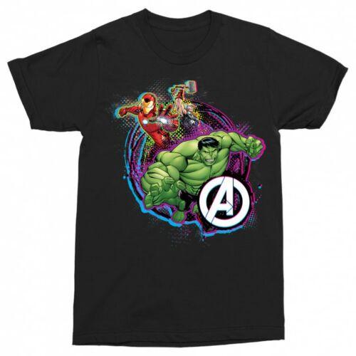 Fekete Bosszúállók férfi rövid ujjú póló - Avengers Team Neon