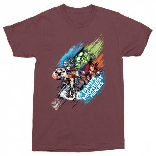 Bordó Marvel Bosszúállók férfi rövid ujjú póló - Earth's Mightiest Heroes