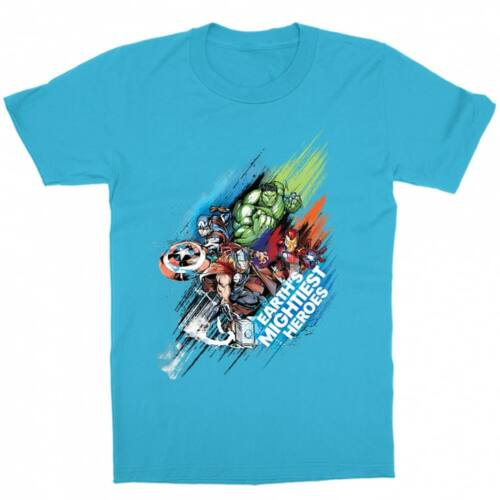 Atollkék Marvel Bosszúállók gyerek rövid ujjú póló - Earth's Mightiest Heroes