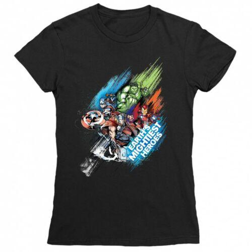 Fekete Marvel Bosszúállók női rövid ujjú póló - Earth's Mightiest Heroes