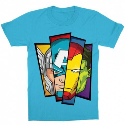 Atollkék Bosszúállók - Avengers gyerek rövid ujjú póló - Arcok