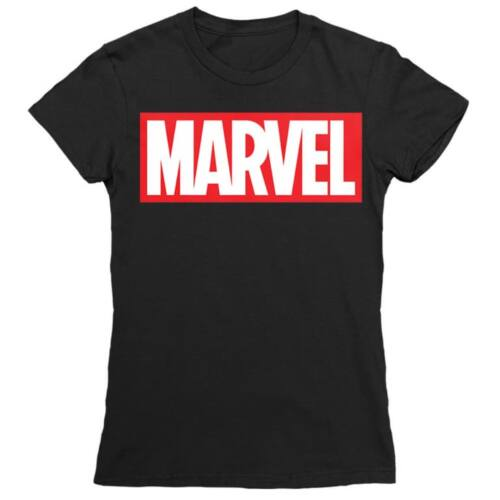 Fekete Marvel logó női rövid ujjú póló