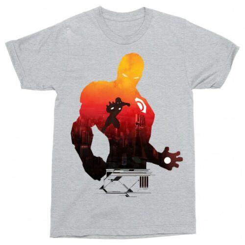 Sportszürke Bosszúállók - Avengers férfi rövid ujjú póló - Vasember sziluett