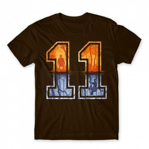 Barna Stranger Things férfi rövid ujjú póló - Eleven Numbers