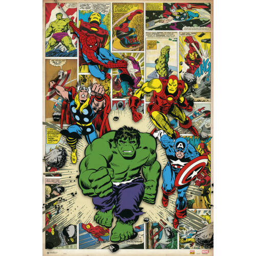 Marvel Comics plakát - Here Come The Heroes