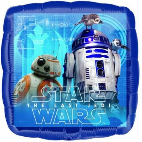Star Wars: Az utolsó Jedik fólia lufi 43 cm - BB-8 és R2-D2
