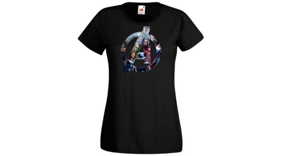 Fekete Bosszúállók - Avengers - Női rövid ujjú póló 5f2e6fb88d
